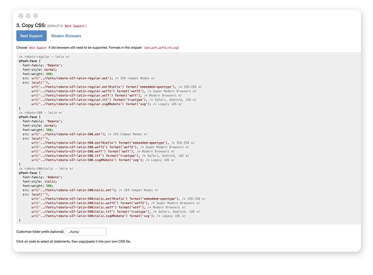 Der Gogle Webfonts Helper – Generierter CSS Code
