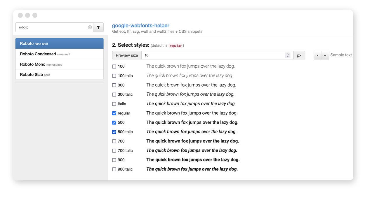 google webfonts helper – Schriftschnitte auswählen