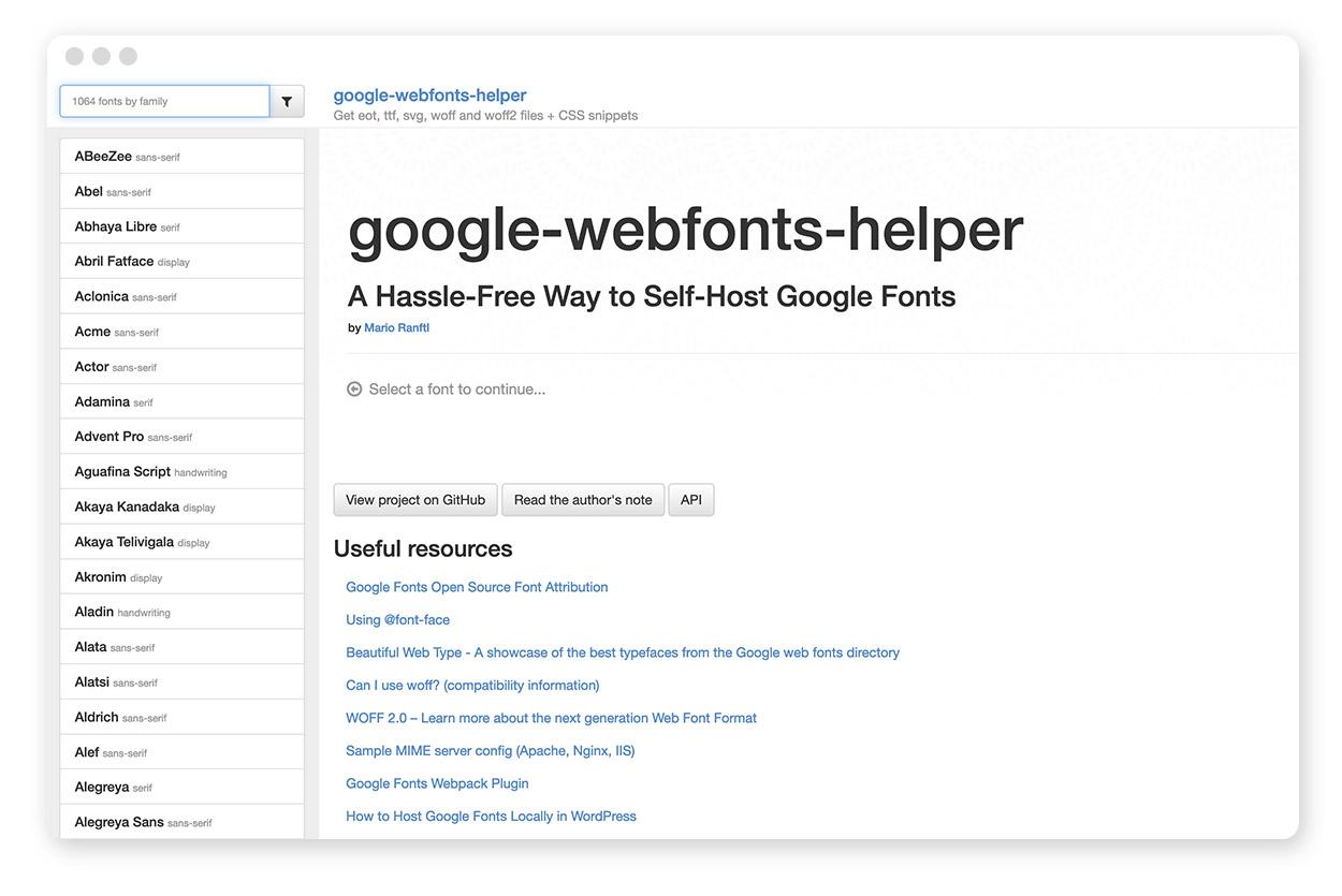Der Gogle Webfonts Helper